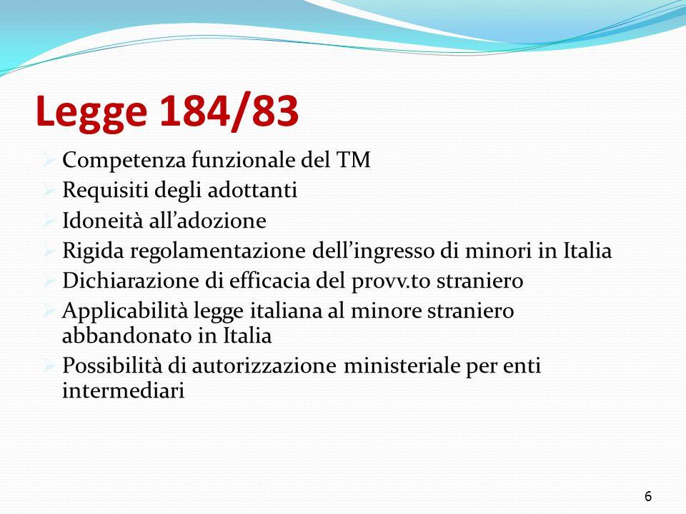 Legge 184/83  Competenza funzionale del TM  Requisiti degli adottanti  Idoneità all'adozione  Rigida regolamentazione dell'ingresso di minori in Italia  Dichiarazione di efficacia del provv.to straniero  Applicabilità legge italiana al minore straniero abbandonato in Italia  Possibilità di autorizzazione ministeriale per enti intermediari 6