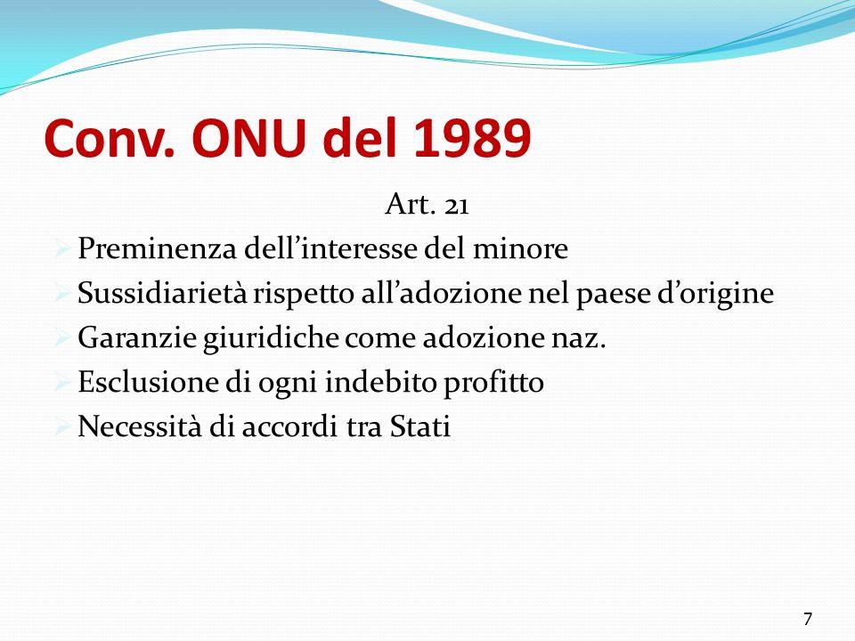 Conv. ONU del 1989 Art. 21  Preminenza dell'interesse del minore  Sussidiarietà rispetto all'adozione nel paese d'origine  Garanzie giuridiche come
