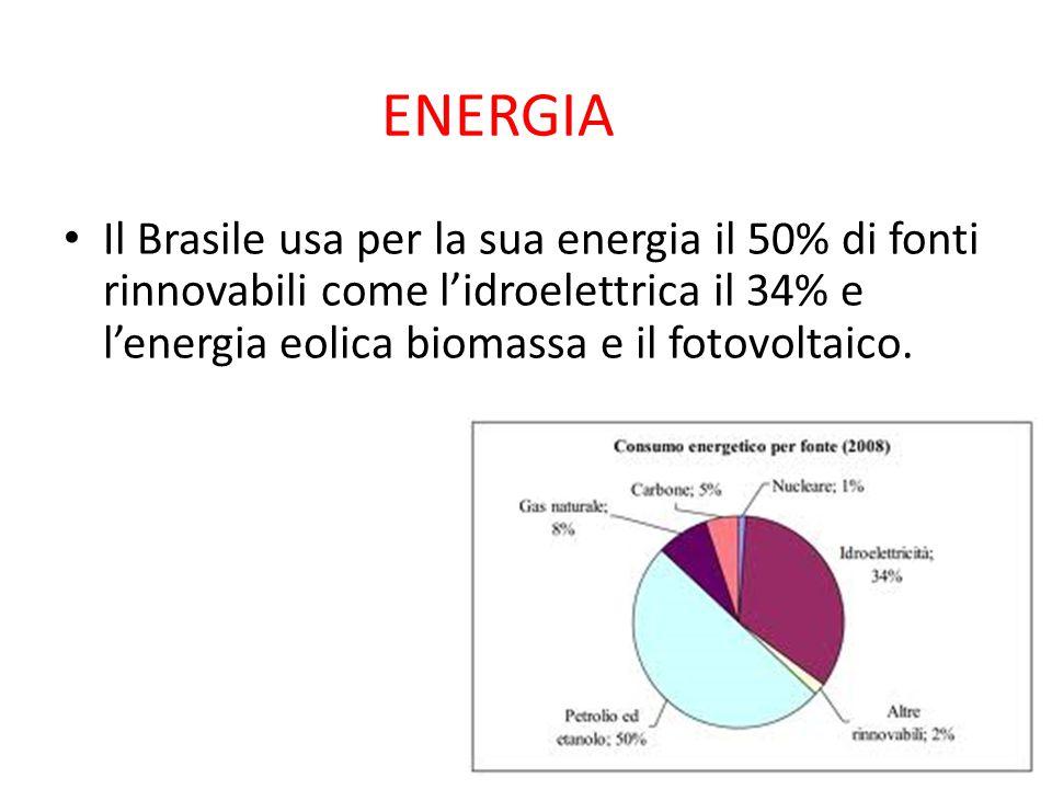 ENERGIA Il Brasile usa per la sua energia il 50% di fonti rinnovabili come l'idroelettrica il 34% e l'energia eolica biomassa e il fotovoltaico.