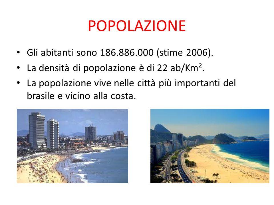 POPOLAZIONE Gli abitanti sono 186.886.000 (stime 2006). La densità di popolazione è di 22 ab/Km². La popolazione vive nelle città più importanti del b
