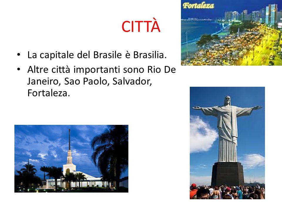 CITTÀ La capitale del Brasile è Brasilia. Altre città importanti sono Rio De Janeiro, Sao Paolo, Salvador, Fortaleza.