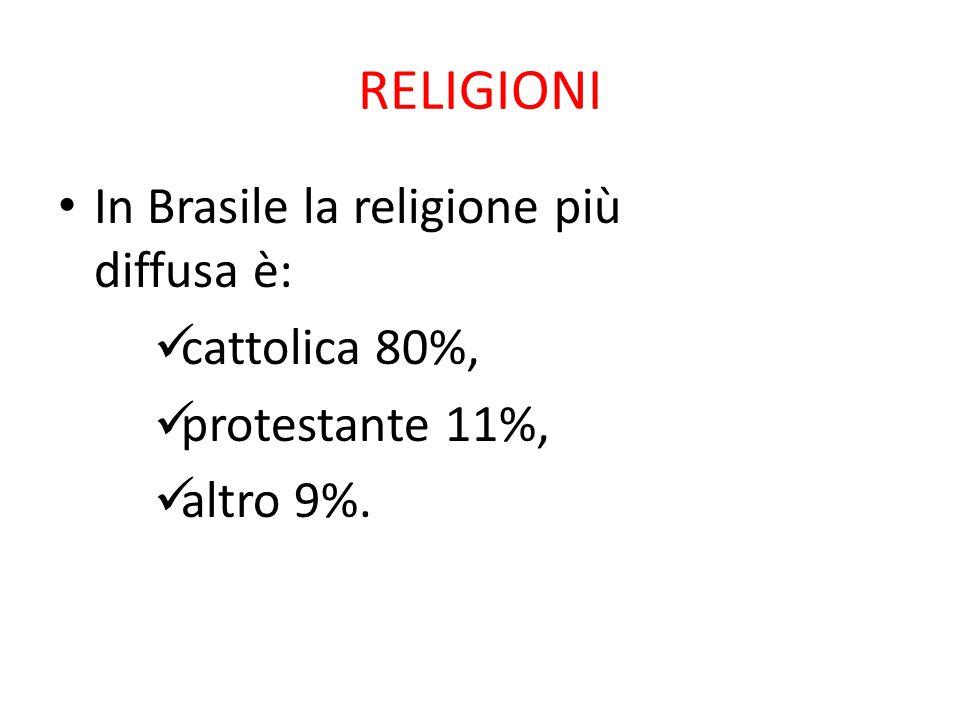 RELIGIONI In Brasile la religione più diffusa è: cattolica 80%, protestante 11%, altro 9%.