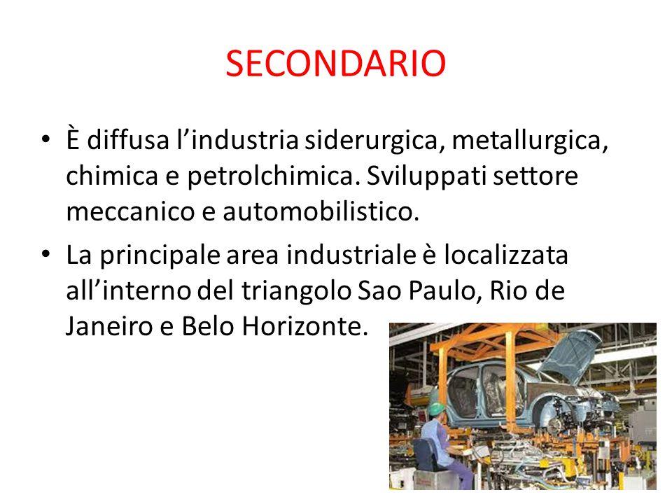 SECONDARIO È diffusa l'industria siderurgica, metallurgica, chimica e petrolchimica. Sviluppati settore meccanico e automobilistico. La principale are