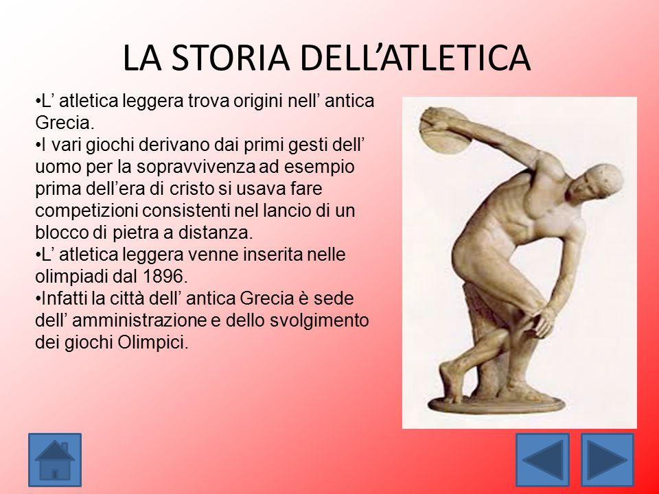 LA STORIA DELL'ATLETICA L' atletica leggera trova origini nell' antica Grecia. I vari giochi derivano dai primi gesti dell' uomo per la sopravvivenza