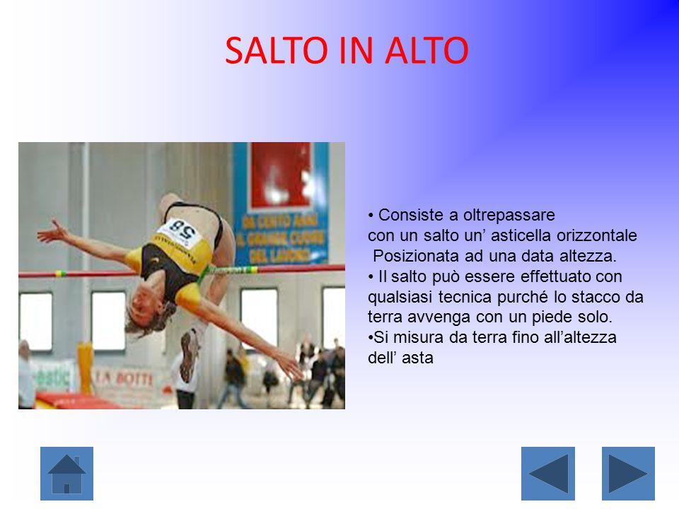 SALTO IN ALTO Consiste a oltrepassare con un salto un' asticella orizzontale Posizionata ad una data altezza. Il salto può essere effettuato con quals