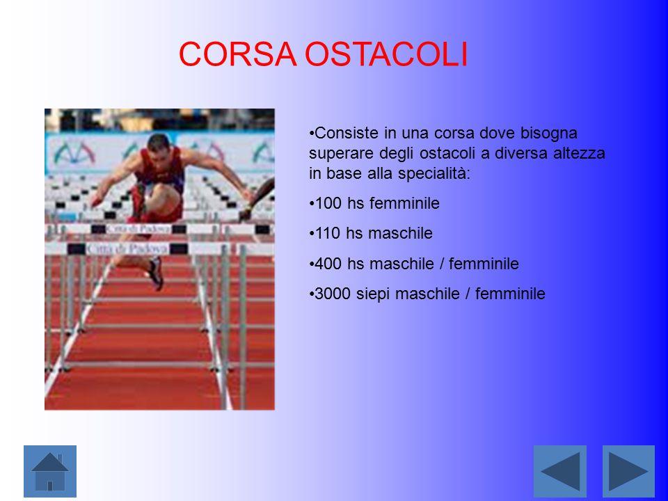 CORSA OSTACOLI Consiste in una corsa dove bisogna superare degli ostacoli a diversa altezza in base alla specialità: 100 hs femminile 110 hs maschile