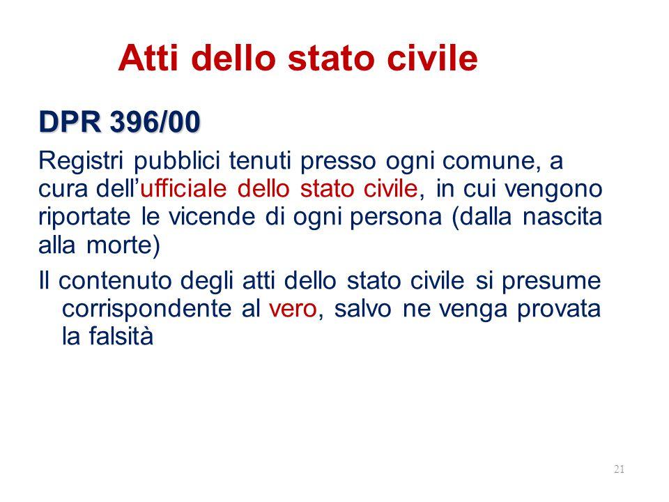 Atti dello stato civile DPR 396/00 Registri pubblici tenuti presso ogni comune, a cura dell'ufficiale dello stato civile, in cui vengono riportate le