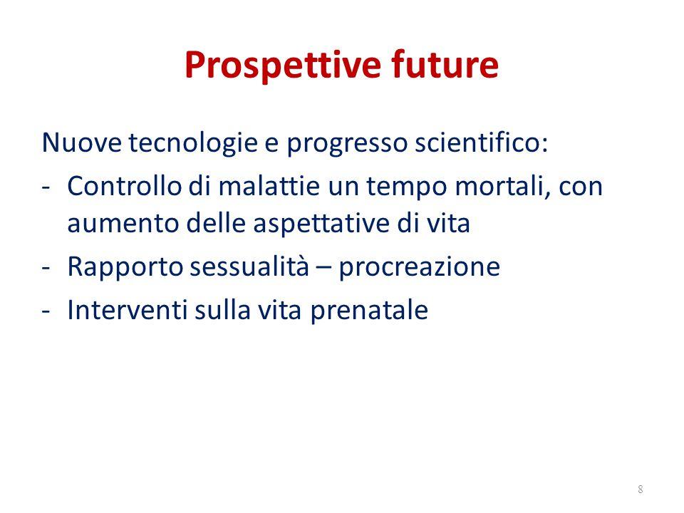Prospettive future Nuove tecnologie e progresso scientifico: -Controllo di malattie un tempo mortali, con aumento delle aspettative di vita -Rapporto