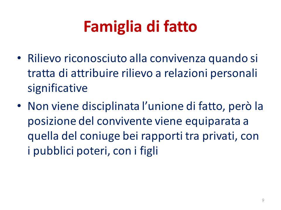 Famiglia di fatto Rilievo riconosciuto alla convivenza quando si tratta di attribuire rilievo a relazioni personali significative Non viene disciplina