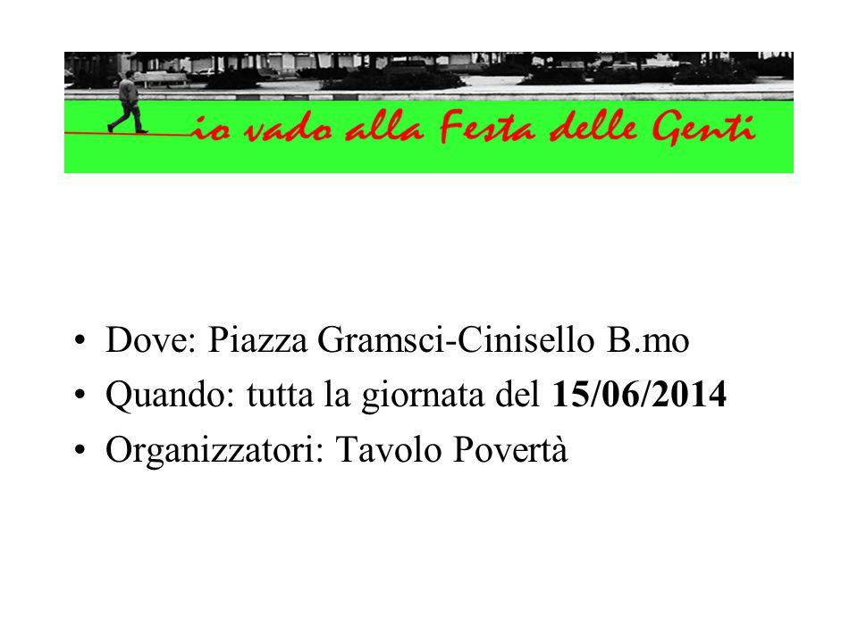 Dove: Piazza Gramsci-Cinisello B.mo Quando: tutta la giornata del 15/06/2014 Organizzatori: Tavolo Povertà