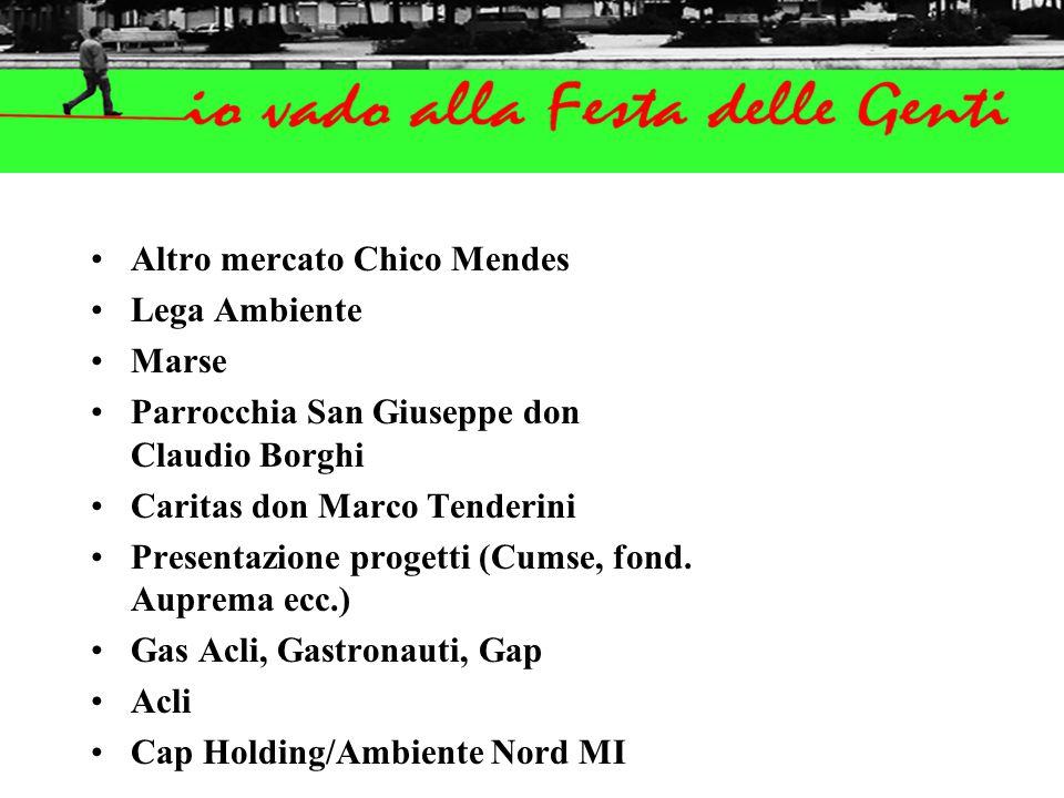 Altro mercato Chico Mendes Lega Ambiente Marse Parrocchia San Giuseppe don Claudio Borghi Caritas don Marco Tenderini Presentazione progetti (Cumse, fond.