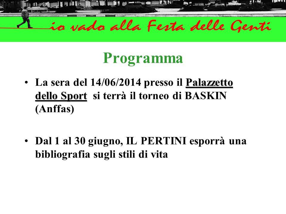 Programma Palazzetto dello SportLa sera del 14/06/2014 presso il Palazzetto dello Sport si terrà il torneo di BASKIN (Anffas) Dal 1 al 30 giugno, IL PERTINI esporrà una bibliografia sugli stili di vita