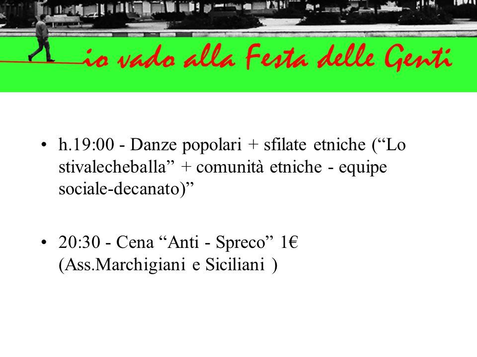 h.19:00 - Danze popolari + sfilate etniche ( Lo stivalecheballa + comunità etniche - equipe sociale-decanato) 20:30 - Cena Anti - Spreco 1€ (Ass.Marchigiani e Siciliani )