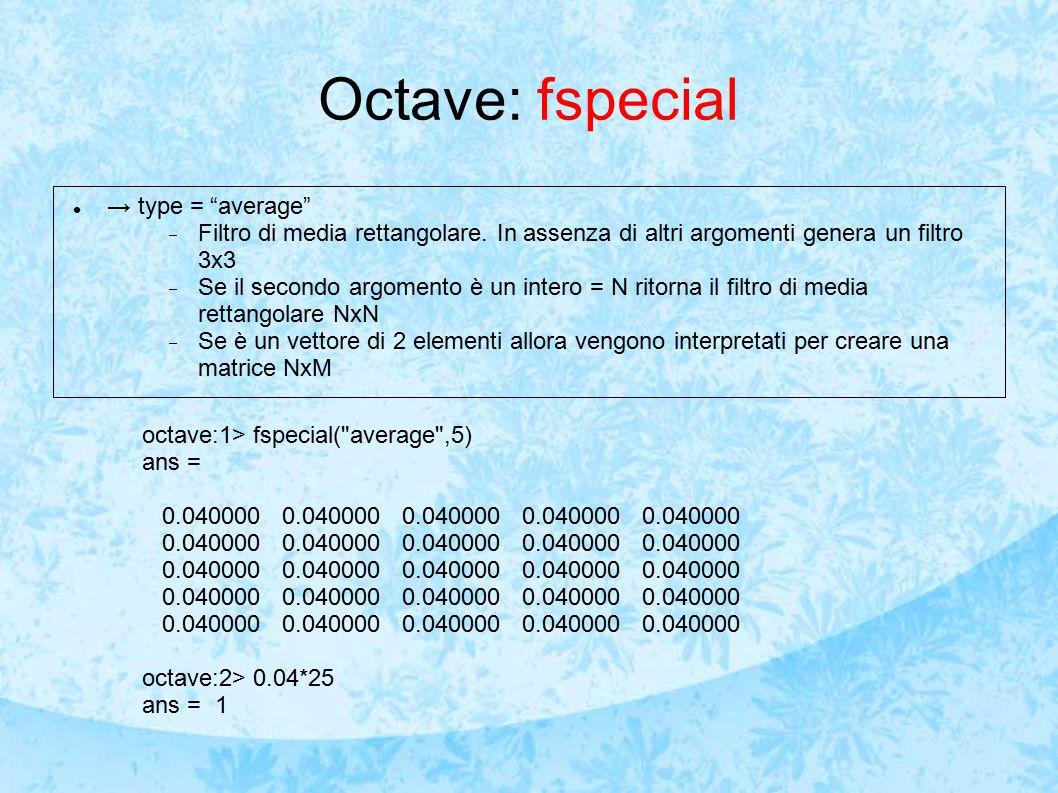 Octave: fspecial → type = average  Filtro di media rettangolare.