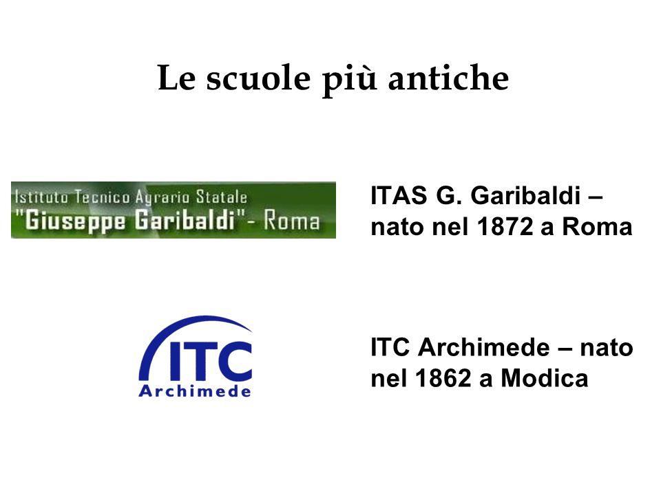 ITAS G. Garibaldi – nato nel 1872 a Roma ITC Archimede – nato nel 1862 a Modica Le scuole più antiche