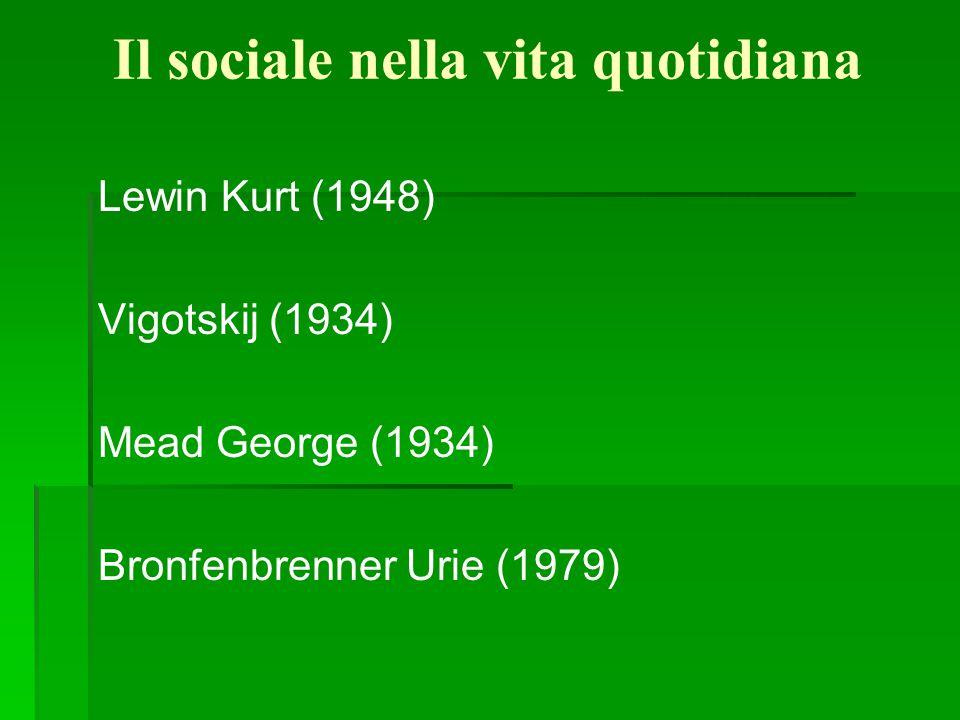 Il sociale nella vita quotidiana Lewin Kurt (1948) Vigotskij (1934) Mead George (1934) Bronfenbrenner Urie (1979)