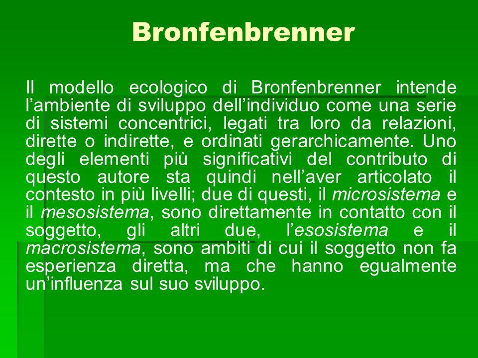 Bronfenbrenner Il modello ecologico di Bronfenbrenner intende l'ambiente di sviluppo dell'individuo come una serie di sistemi concentrici, legati tra loro da relazioni, dirette o indirette, e ordinati gerarchicamente.