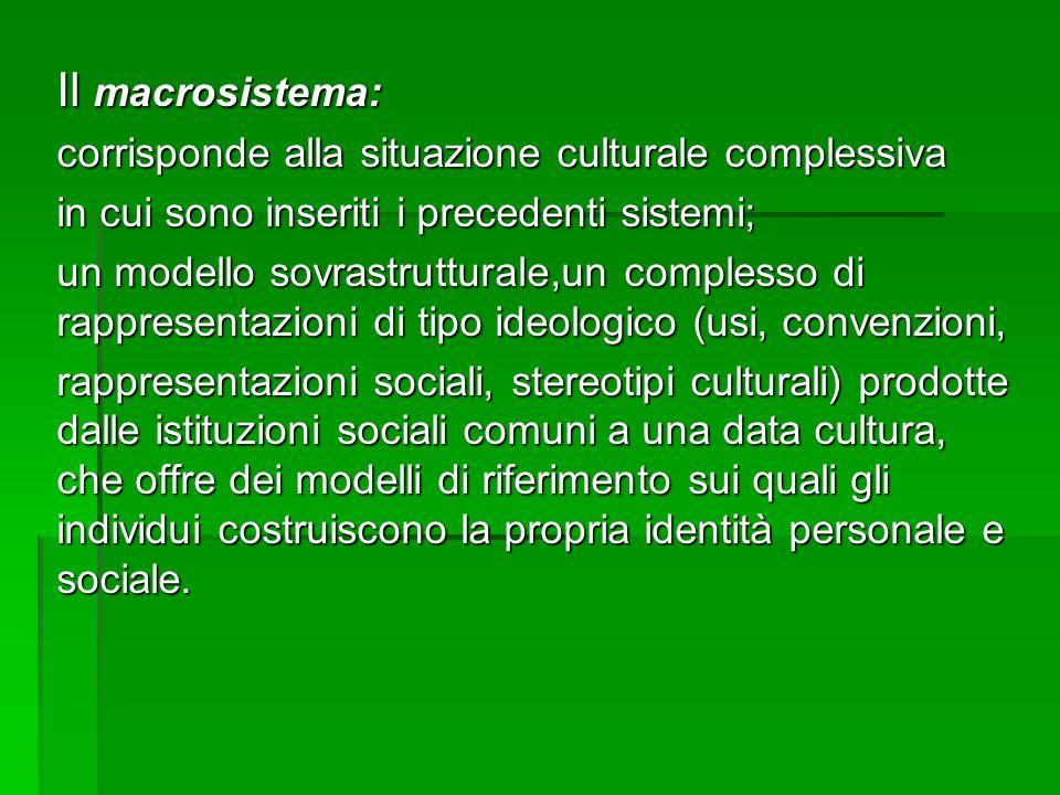Il macrosistema: corrisponde alla situazione culturale complessiva in cui sono inseriti i precedenti sistemi; un modello sovrastrutturale,un complesso