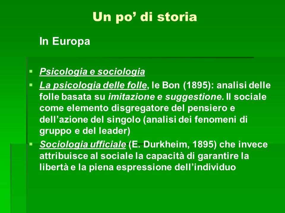 In Europa   Psicologia e sociologia   La psicologia delle folle, le Bon (1895): analisi delle folle basata su imitazione e suggestione. Il sociale
