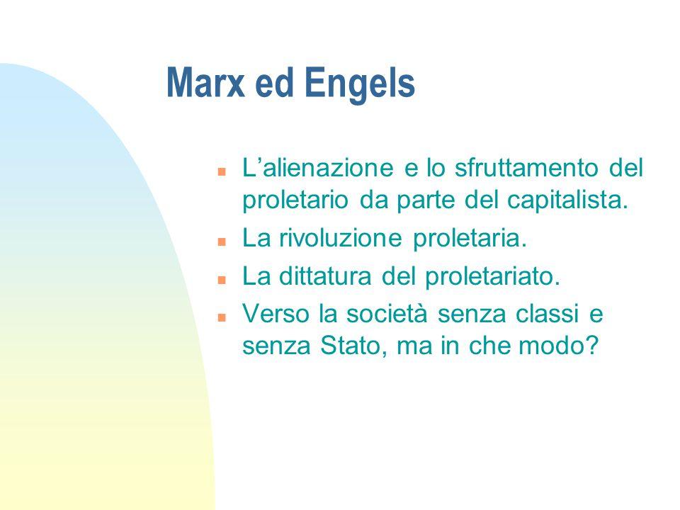 Marx ed Engels n L'alienazione e lo sfruttamento del proletario da parte del capitalista. n La rivoluzione proletaria. n La dittatura del proletariato
