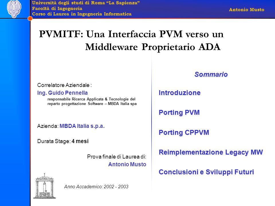 Università degli studi di Roma La Sapienza Facoltà di Ingegneria Corso di Laurea in Ingegneria Informatica Antonio Musto Correlatore Aziendale : Ing.