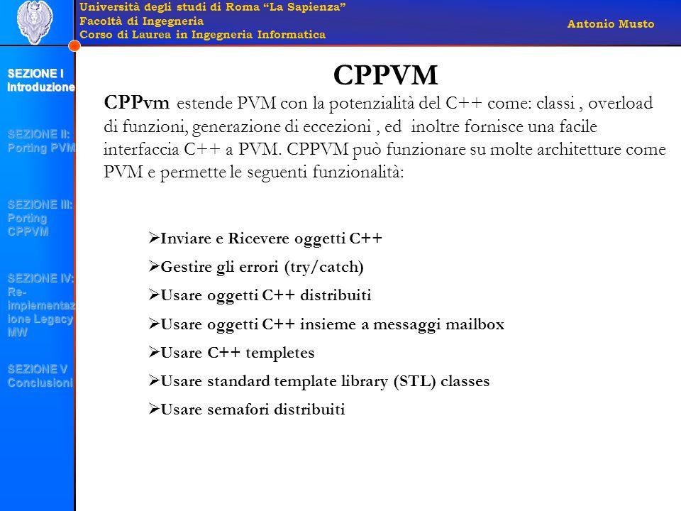 Università degli studi di Roma La Sapienza Facoltà di Ingegneria Corso di Laurea in Ingegneria Informatica Antonio Musto CPPvm estende PVM con la potenzialità del C++ come: classi, overload di funzioni, generazione di eccezioni, ed inoltre fornisce una facile interfaccia C++ a PVM.