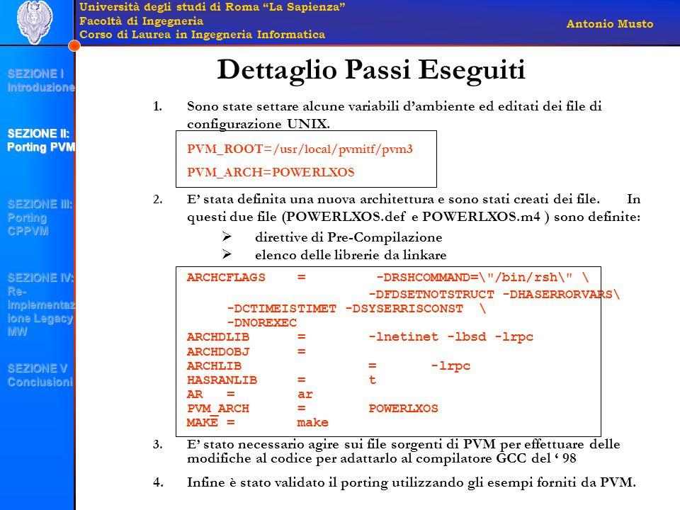 Università degli studi di Roma La Sapienza Facoltà di Ingegneria Corso di Laurea in Ingegneria Informatica Antonio Musto Dettaglio Passi Eseguiti 1.Sono state settare alcune variabili d'ambiente ed editati dei file di configurazione UNIX.