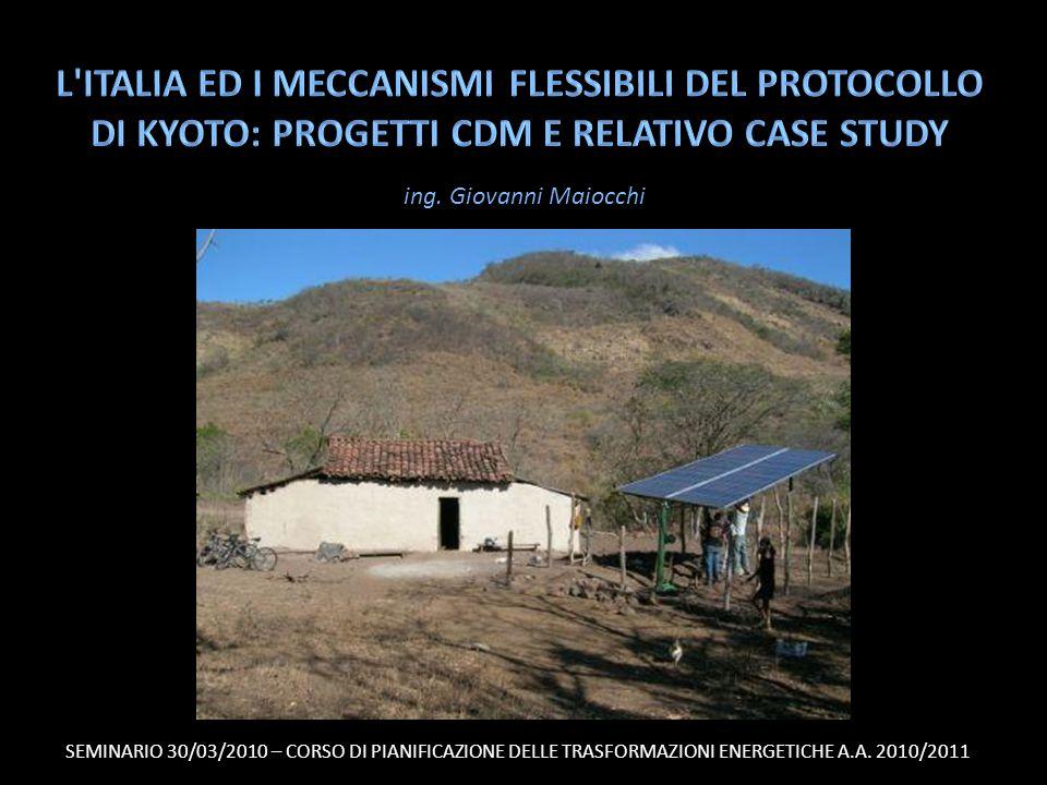 Presenza italiana sul totale dei progetti CDM di una nazione (dati 2009) 32/47