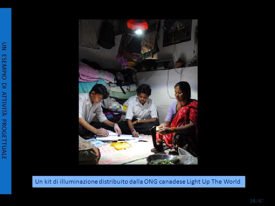 UN ESEMPIO DI ATTIVITÀ PROGETTUALE Un kit di illuminazione distribuito dalla ONG canadese Light Up The World 38/47