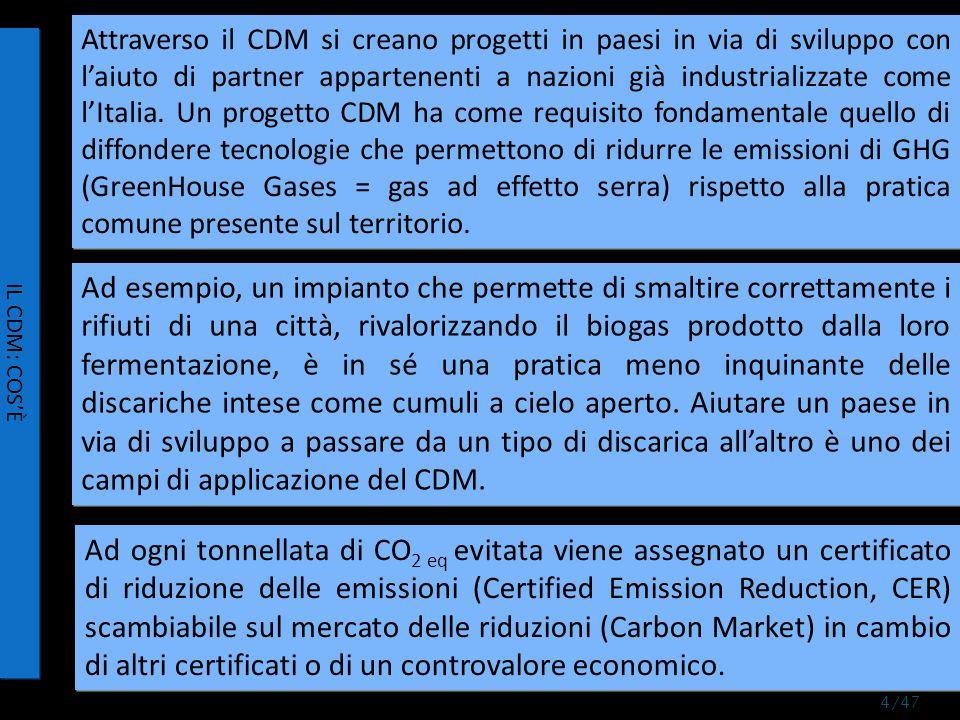 Attraverso il CDM si creano progetti in paesi in via di sviluppo con l'aiuto di partner appartenenti a nazioni già industrializzate come l'Italia.