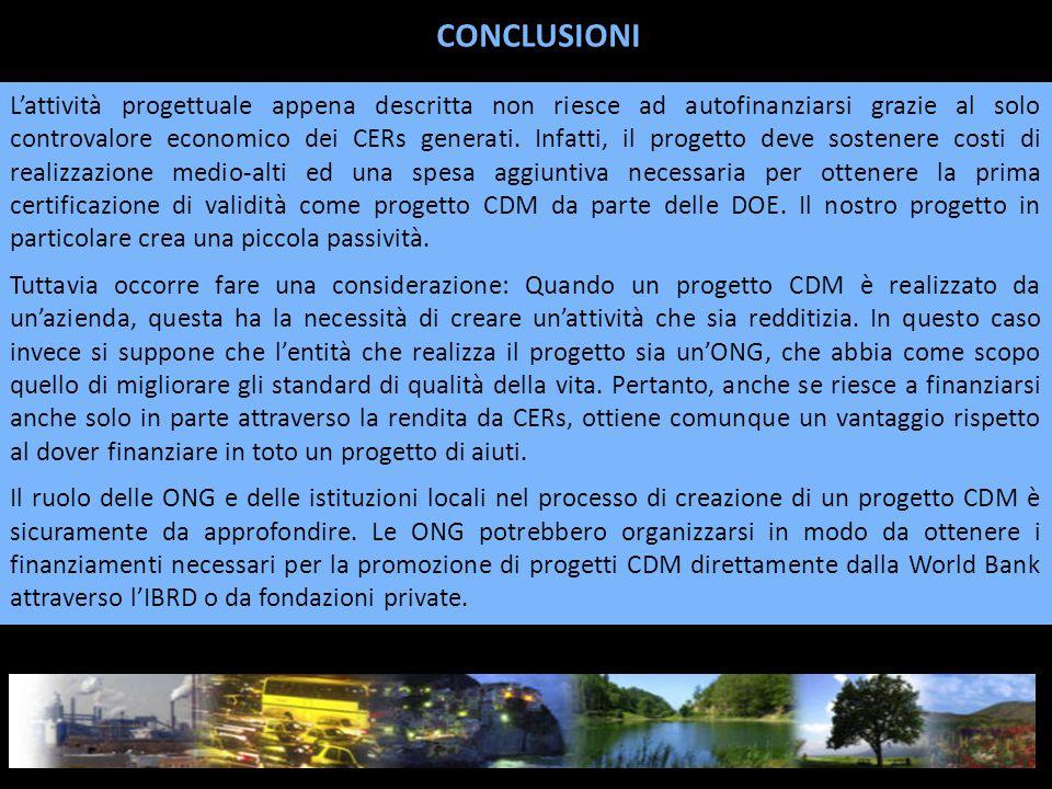 L'attività progettuale appena descritta non riesce ad autofinanziarsi grazie al solo controvalore economico dei CERs generati.