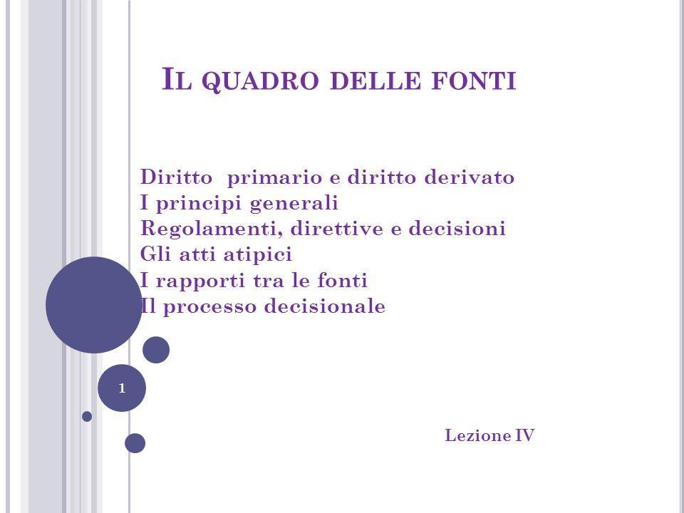 I L QUADRO DELLE FONTI Diritto primario e diritto derivato I principi generali Regolamenti, direttive e decisioni Gli atti atipici I rapporti tra le f