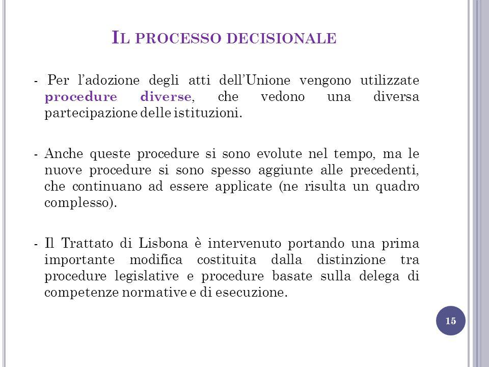 I L PROCESSO DECISIONALE 15 - Per l'adozione degli atti dell'Unione vengono utilizzate procedure diverse, che vedono una diversa partecipazione delle