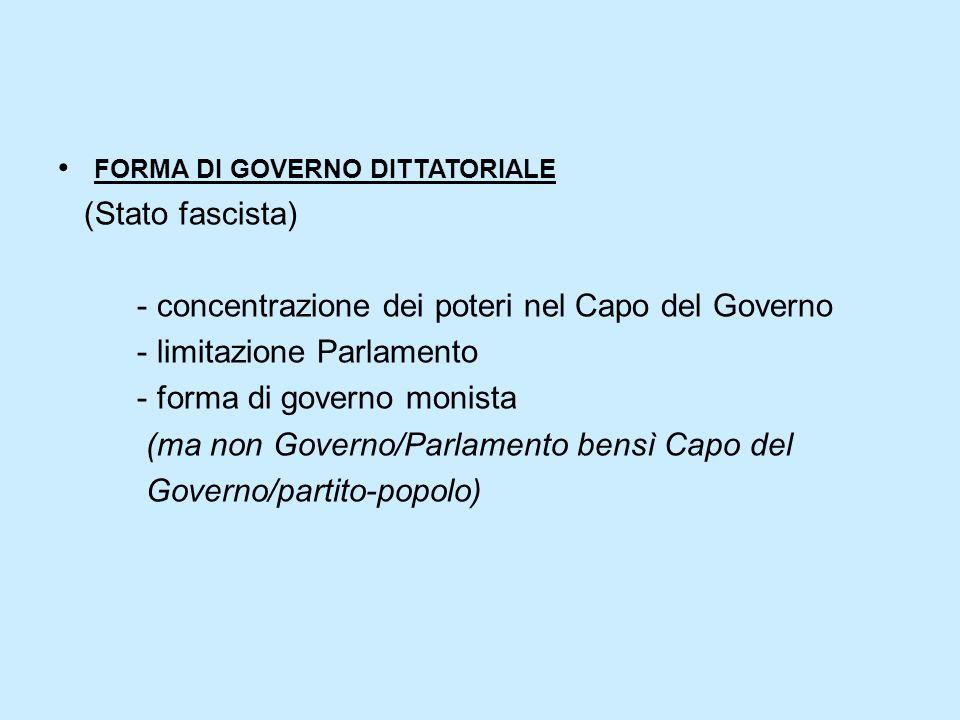 FORMA DI GOVERNO DITTATORIALE (Stato fascista) - concentrazione dei poteri nel Capo del Governo - limitazione Parlamento - forma di governo monista (m