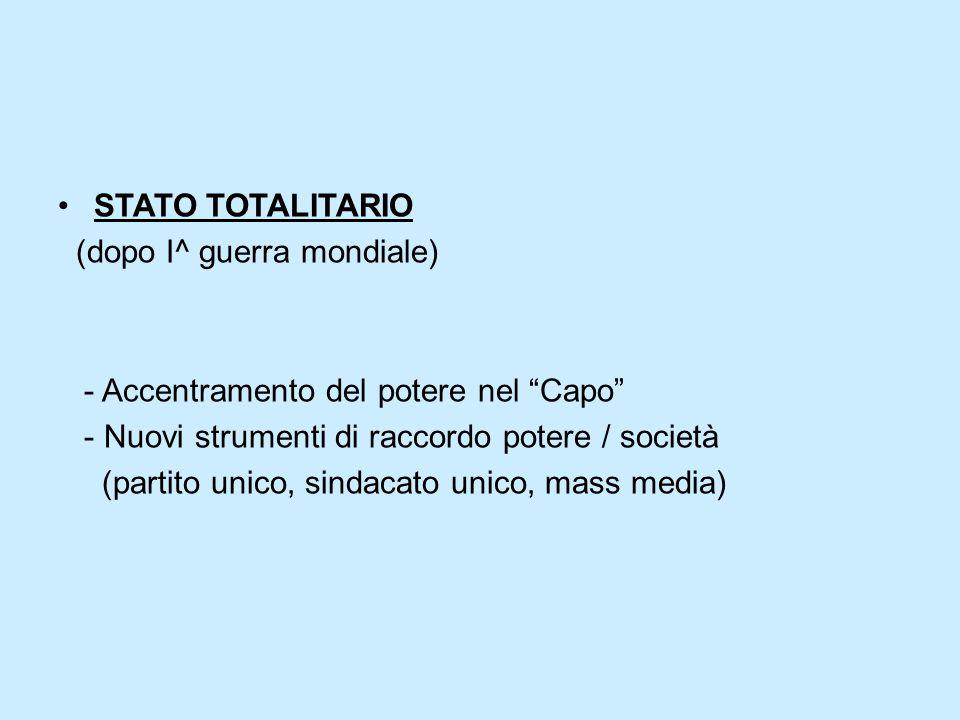 """STATO TOTALITARIO (dopo I^ guerra mondiale) - Accentramento del potere nel """"Capo"""" - Nuovi strumenti di raccordo potere / società (partito unico, sinda"""