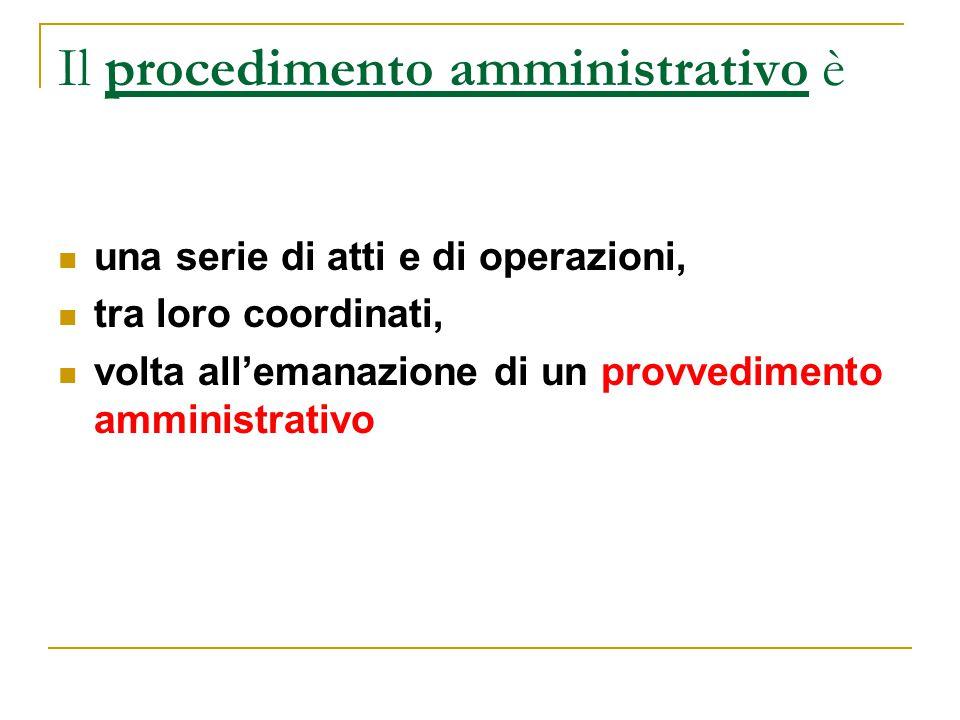 Il procedimento amministrativo è una serie di atti e di operazioni, tra loro coordinati, volta all'emanazione di un provvedimento amministrativo