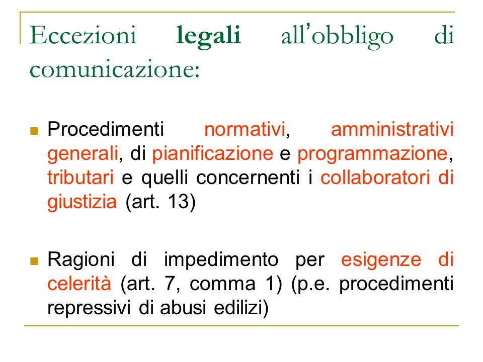 Eccezioni legali all ' obbligo di comunicazione: Procedimenti normativi, amministrativi generali, di pianificazione e programmazione, tributari e quel