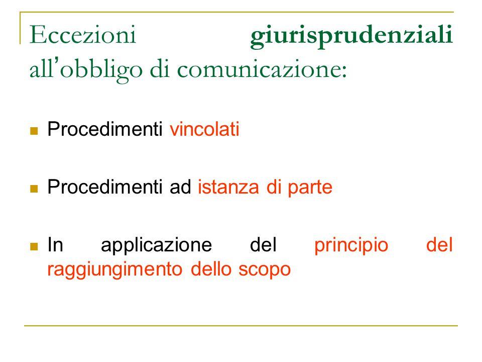 Eccezioni giurisprudenziali all ' obbligo di comunicazione: Procedimenti vincolati Procedimenti ad istanza di parte In applicazione del principio del