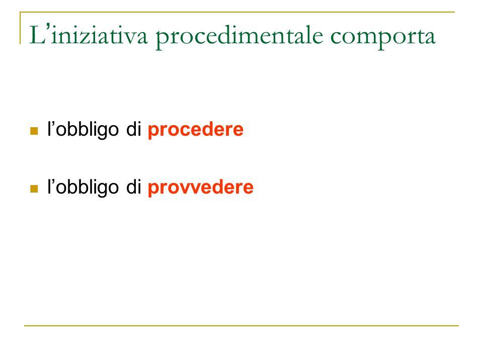 L ' iniziativa procedimentale comporta l'obbligo di procedere l'obbligo di provvedere