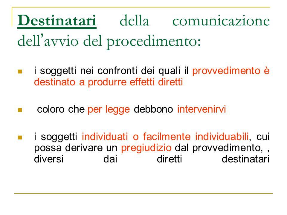 Destinatari della comunicazione dell ' avvio del procedimento: i soggetti nei confronti dei quali il provvedimento è destinato a produrre effetti dire