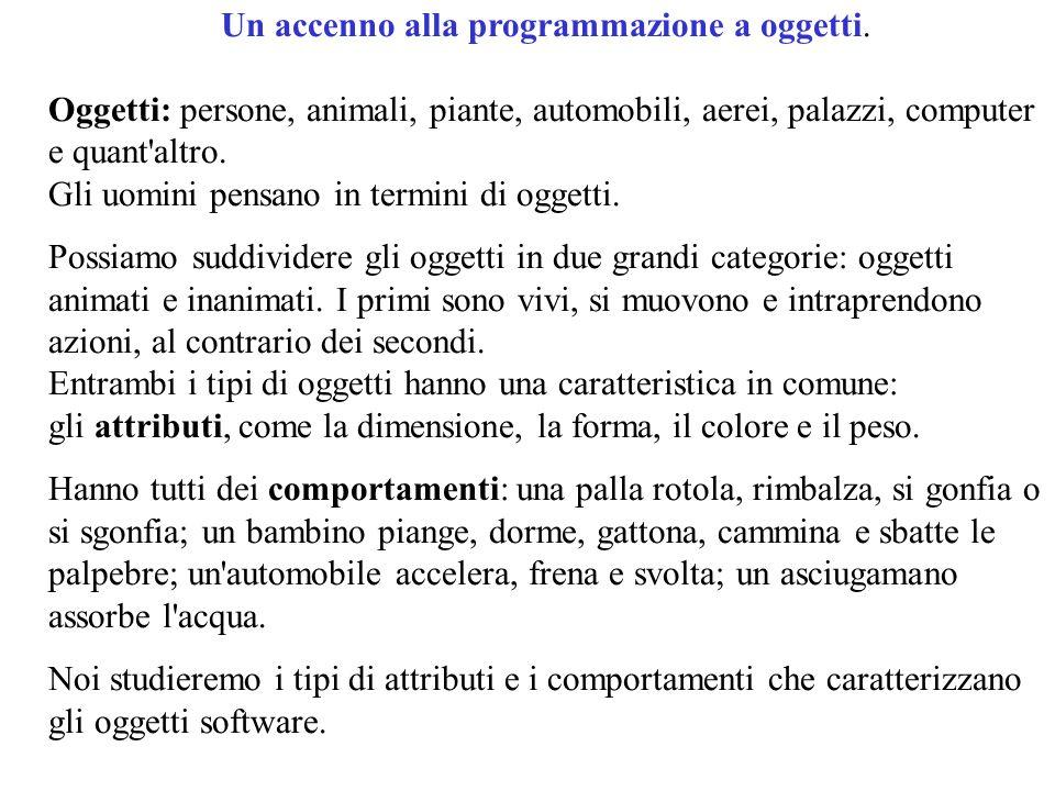 10 Un accenno alla programmazione a oggetti.