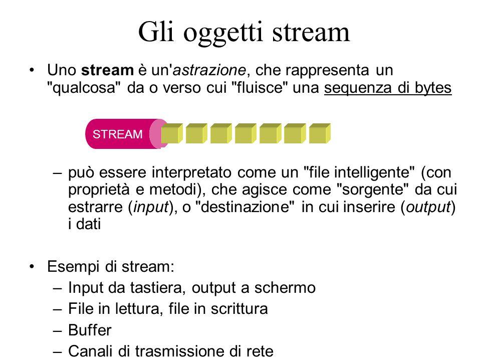16 Uno stream è un astrazione, che rappresenta un qualcosa da o verso cui fluisce una sequenza di bytes –può essere interpretato come un file intelligente (con proprietà e metodi), che agisce come sorgente da cui estrarre (input), o destinazione in cui inserire (output) i dati Esempi di stream: –Input da tastiera, output a schermo –File in lettura, file in scrittura –Buffer –Canali di trasmissione di rete STREAM Gli oggetti stream