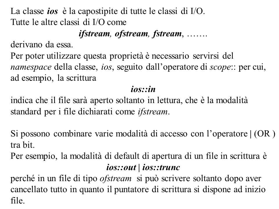 26 La classe ios è la capostipite di tutte le classi di I/O. Tutte le altre classi di I/O come ifstream, ofstream, fstream, ……. derivano da essa. Per
