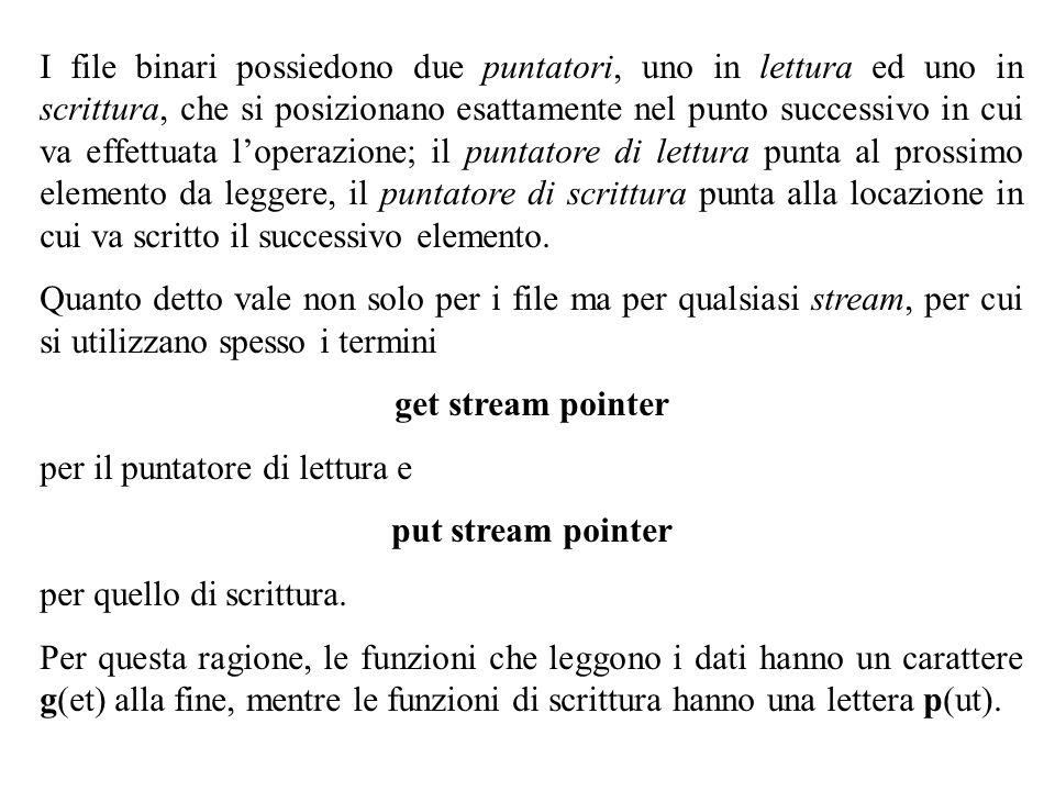 29 I file binari possiedono due puntatori, uno in lettura ed uno in scrittura, che si posizionano esattamente nel punto successivo in cui va effettuat