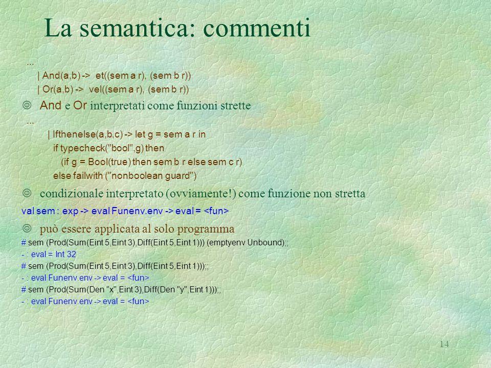 14 La semantica: commenti... | And(a,b) -> et((sem a r), (sem b r)) | Or(a,b) -> vel((sem a r), (sem b r))  And e Or interpretati come funzioni stret