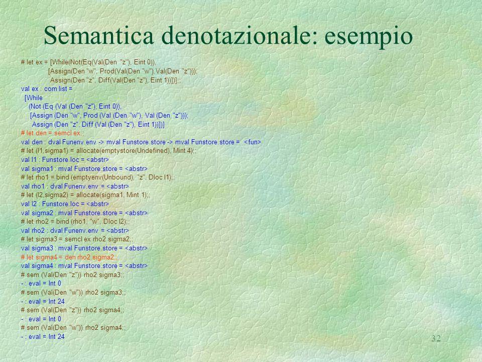 32 Semantica denotazionale: esempio # let ex = [While(Not(Eq(Val(Den