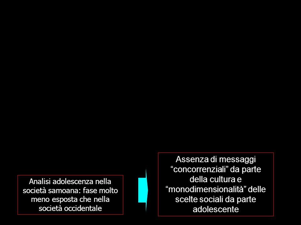 Analisi adolescenza nella società samoana: fase molto meno esposta che nella società occidentale Assenza di messaggi concorrenziali da parte della cultura e monodimensionalità delle scelte sociali da parte adolescente