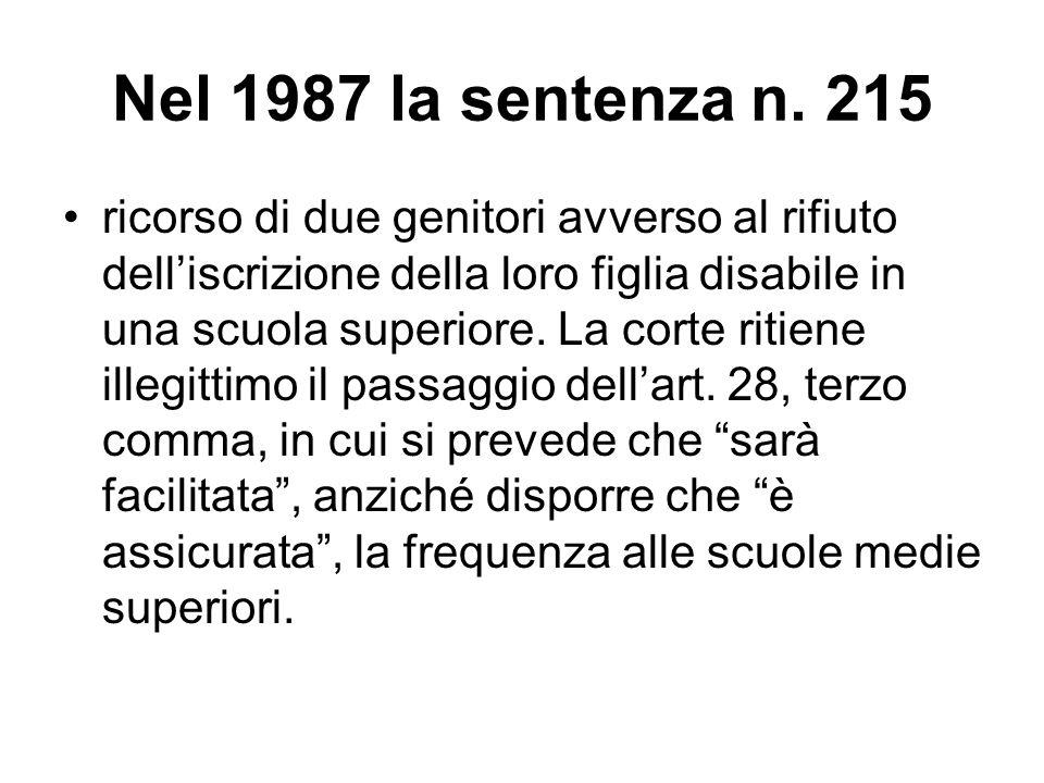 Nel 1987 la sentenza n. 215 ricorso di due genitori avverso al rifiuto dell'iscrizione della loro figlia disabile in una scuola superiore. La corte ri