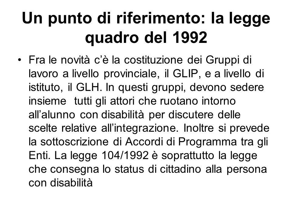 Un punto di riferimento: la legge quadro del 1992 Fra le novità c'è la costituzione dei Gruppi di lavoro a livello provinciale, il GLIP, e a livello d