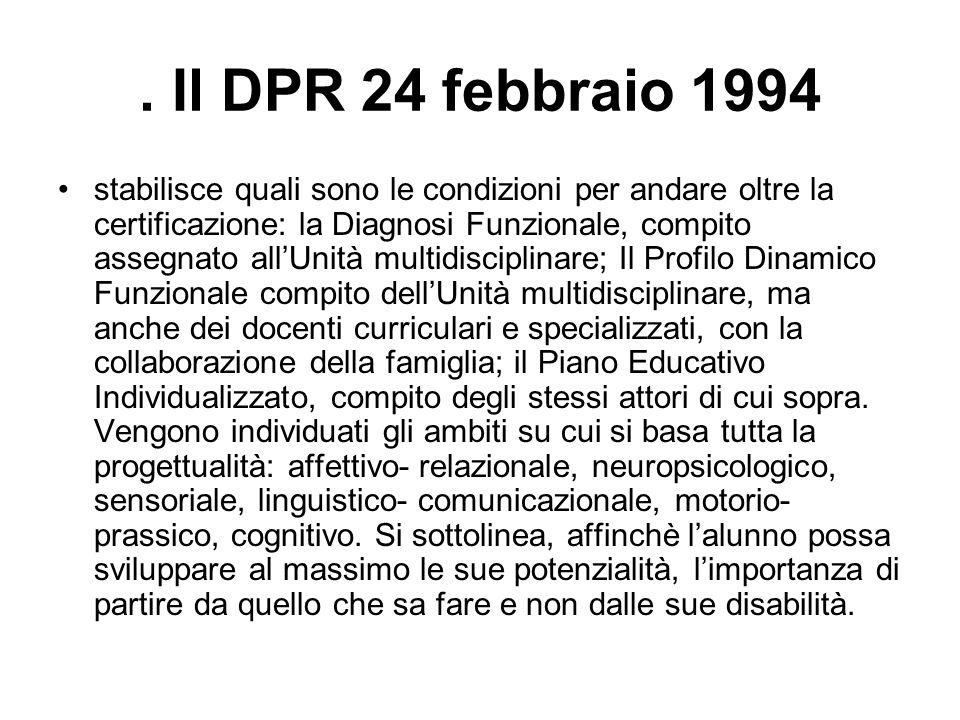 . Il DPR 24 febbraio 1994 stabilisce quali sono le condizioni per andare oltre la certificazione: la Diagnosi Funzionale, compito assegnato all'Unità